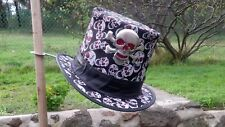 LEATHER & SKULL GLITTER FABRIC TALL DAY OF THE DEAD TOP HAT WITH XL GLOW SKULL