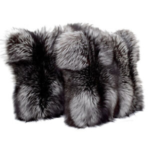 Genuine Silver Fox Fur Pillow Cushion NEW! Real Fur 20x20 inches / 50x50cm FOX