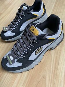 Sketchers Sport | Mens Leather Sneakers Size 8 Gray Black Yellow New Memory Foam