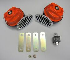 LOUD RED Hi Low Street Rod Rat Rod Horn Set w/ Relay