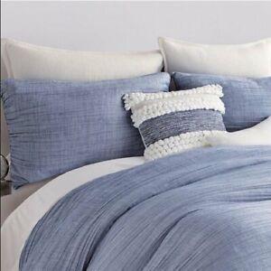 DKNY Pillow Sham City Pleat Blue King Cover NEW NIP