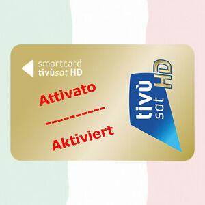➨ TiVuSat HD Gold Karte aktiviert italienische HD/ 4K Kanäle Eutelsat HotBird ✅