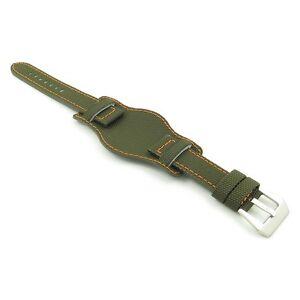 DASSARI Trooper Green w/ Orange Nylon Canvas Bund Mens Military Watch Band Strap