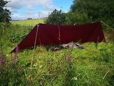 Hand made tarp ground sheet waxed canvas leather bushcraft glamping