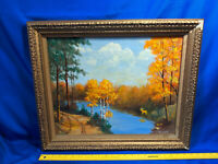 1969 C Archibald Brown County Indiana Autumn Original Oil Painting Canvas Gold