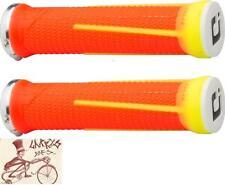 ODI AG1 LOCK-ON FLOURESCENT YELLOW/FLOURESCENT ORANGE BMX-MTB BICYCLE GRIPS