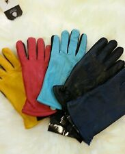 LADIES SOFT LEATHER GLOVES GENUINE LEATHER ALL COLOURS FLEECE LINING
