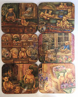 Vintage Set Of 6 Coasters Cork Backed Barware Teddy Bears Design From 1990s