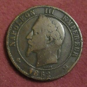1862 k France Napoleon  III 10 Centimes Coin