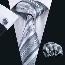Silber Grau Paisley Seide Krawatte Set Einstecktuch Knöpfe Hochzeit K433
