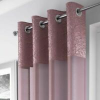 BLUSH PINK CRUSHED SILK BORDER SILVER EYELET  MODERN VOILE NET CURTAIN PANEL
