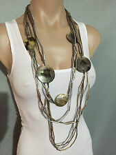 BNWT Autograph Brand Gold & Silver Beads & Shells Multi Strand Long Necklace