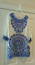 Ella Moss Winter White Blue Embroidered Swimsuit Tunic Cover Up M NWT $188