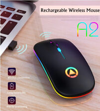 More details for mini slim 2.4ghz wireless mouse mice for pc laptop rgb backlight gaming desktop