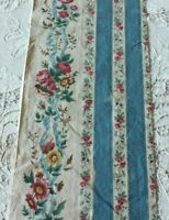 Long Length Of French Antique Hand Blocked Chintz c1860~Roses & Ribbons~Dolls