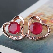 New arrival! lady ruby 18K rose gold filled Heart shape stud earring