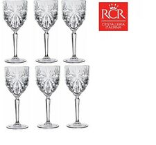 Set of 6x RCR Italian Crystal Oasis Wine Glass 230ml -In Gift/Presentation Box.