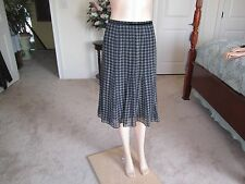 New Anne Klein 100% Silk  Black /White Print Flounce Skirt Size 4