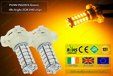 2x LED PY24W 5200 S Amber Yellow Front Rear Indicator Bulbs Repeater Lamps 12v