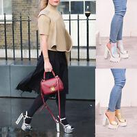 Ladies Womens Chunky Block Heel Platform Peep Toe Holographic Sandal Shoes Size