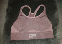 Victoria's Secret PINK Maroon Seamless Lightly Lined Racerback Sports Bra Sz S