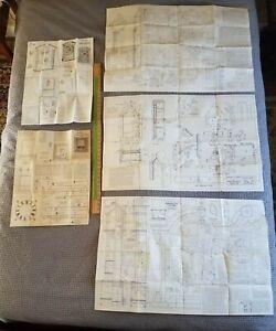 Lot of 5 vintage woodworking plans for clocks