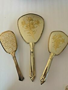 Lot of 3 Antique Vanity Set Hair Brushes and Hand Mirror Vintage
