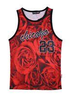 Chicago Jordan Inspired Roses Tank Top Vest   red graffiti tie dye basketball
