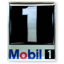 1PC. MOBIL 1 RACING OIL AUTO LUBE CLEAR RESIN COATED ON REFLECTIVE STICKER DECAL