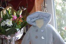 manteaux tartine et chocolat 6 mois capuche deux faces bleute et aut raye ouate