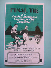 1933 FA Cup final programme, Ticket & free teamsheet Everton v Manchester City.