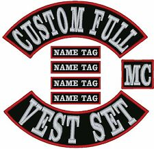"Custom Embroidered Full Vest 12"" Set Patches MC Biker"