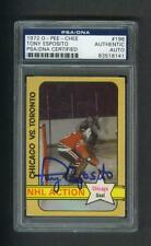 Tony Esposito signed Chicago Blackhawks 1972 Opee Chee hockey card Psa slabbed