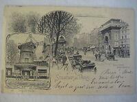 Vintage Souvenir De Paris Boulevard Saint Martin/Moulin Rouge Postcard (Rare)