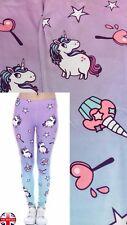 Ladies Super Soft Matte Fabric Unicorn Print Leggings Trousers One size UK 8-12
