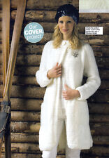 KNITTING PATTERN LADIES 76-132cm VINTAGE-STYLE COAT LONG-LINE L/SLEEVES KTM A5A