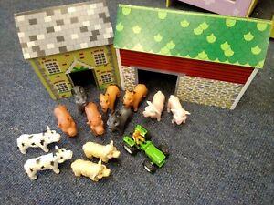 Tidlo Oldfield Farm wooden farmyard + 12 plastic animals + tractor T586