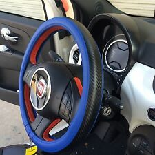 Blue & Carbon Fiber Style Slip-On Steering Wheel Cover Durable Sport Best Grip