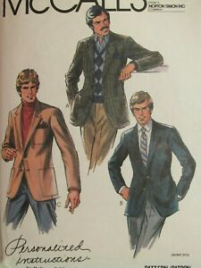 Fab VTG 81 McCALLS 7798 Mens Jackets or Sport Coats in 3 Versions PATTERN 44C