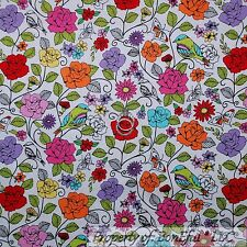 BonEful Fabric FQ Cotton Quilt White Red Purple Pink Blue Green Leaf Flower Bird