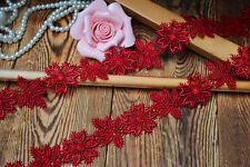 Exquisite, Lovely Red Color Flower Venise Lace Trim - price for 1 yard
