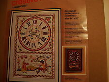 Crewel Embroidery Kit:  Americana  Decorator Battery Clock 14 x 20