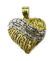 10K Yellow & White Gold Heart Charm Necklace Pendant ~ 2.1g