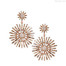 10.99 Ct Natural Diamond Baguette Starburst Dangle Earrings 18k Solid Rose Gold