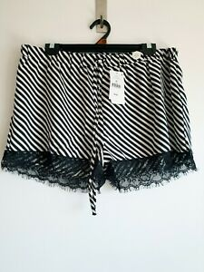 Cotton On Body Stripe Lace Satin PJ Pyjama Mini Shorts Sleepwear Loungewear XL