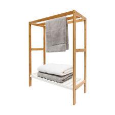Towel Rack Rail Holder Bamboo Hanger Frame Bathroom Free Standing Shelf Storage