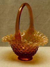 Vintage Signed FENTON AMBER OPALESCENT HOBNAIL GLASS BASKET