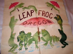 """Oregon Leap Frogs Hand Painted Fabric Panel 100% cotton canvas 21"""" x 21"""""""
