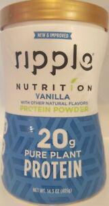 RIPPLE NUTRITION PURE PLANT PROTEIN POWDER VANILLA SUPPLEMENT PEA 14.3 OZ 5/21