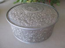 Vintage Guildcraft Ornate Fruit Cake Tin Silver Metalware Grape Vines